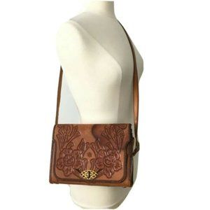 Vintage Hand Tooled Ornate Leather Hand Bag Purse